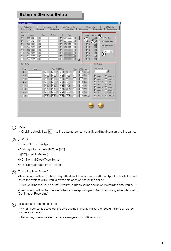 External Sensor Setup 3 1 2 4 1 2 3 4 [Use]
